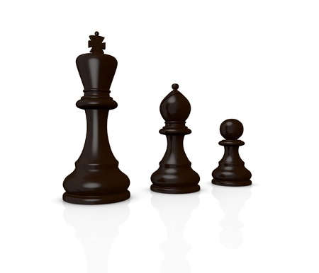 chess: the king, the bishop and the pawn (3d render) photo
