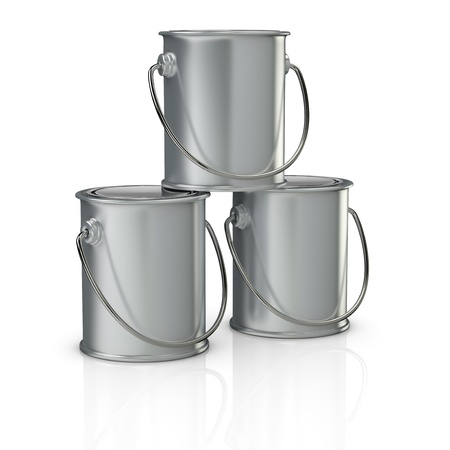 one stack of three paint cans with handle (3d render) photo