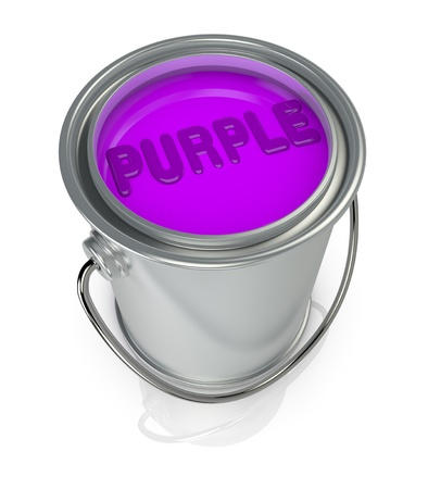 paint tin: top view of a paint can full of purple paint (3d render)