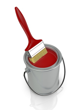 top view of a paint can with a red paintbrush (3d render) photo