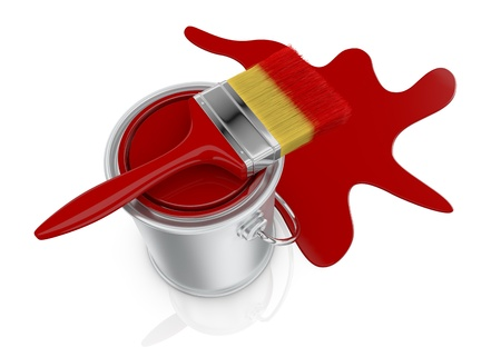 top view of a paint can with a red paintbrush and a stain (3d render) photo