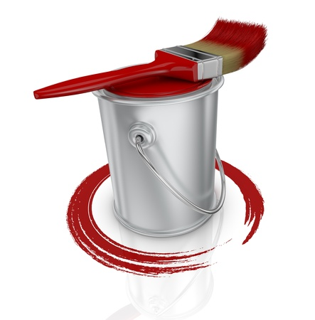 top view of a paint can with a red paintbrush and a brush stroke (3d render) photo