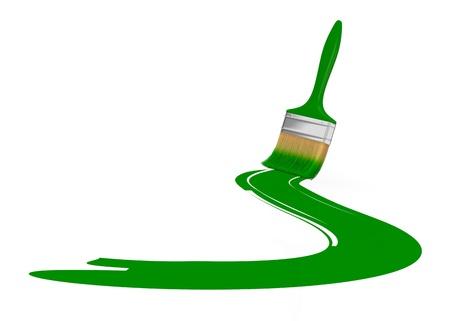 beroerte: een penseel met een groene penseelstreek (3d render)