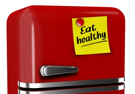 close up view of a refrigerator with a sticky note and text: eat healthy (3d render) photo