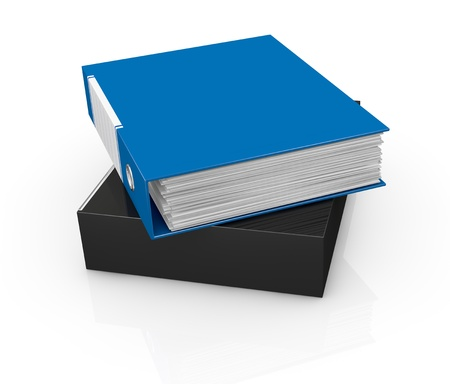 one office folder full of documents (3d render) photo