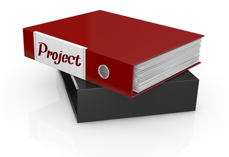 one office folder with a label with text: project (3d render) photo
