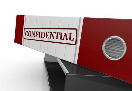 corporate espionage: close up view of an office folder label with text: confidential (3d render)