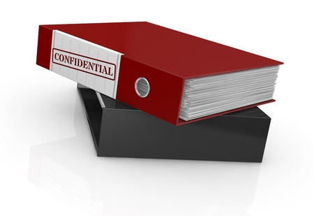 corporate espionage: one office folder with a label with text: confidential (3d render) Stock Photo