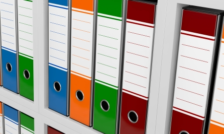 close up view of a bookshelf with office folders (3d render) Stock Photo - 16847143