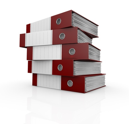 one stack of office folders full of documents (3d render) photo
