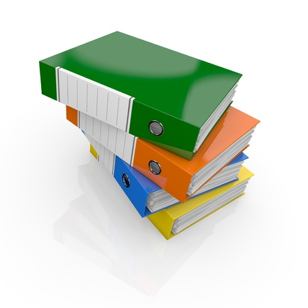 one stack of office folders full of documents (3d render) Stock Photo - 16847094