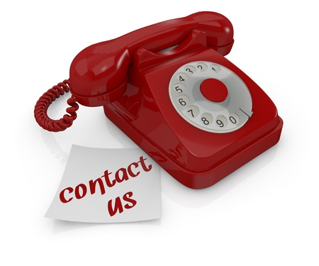 one vintage telephone with a sticky note and text: contact us (3d render) photo