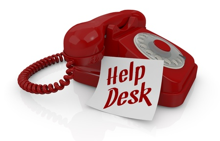one vintage telephone with a sticky note and text: help desk (3d render) photo