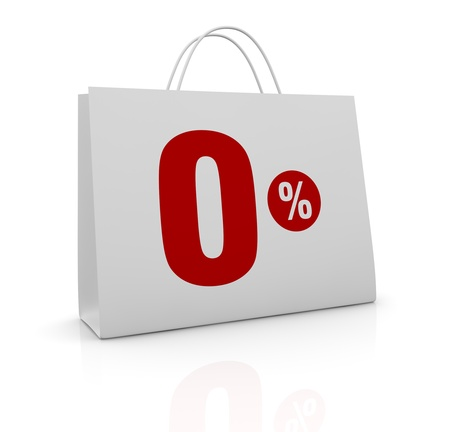 one shopping bag with the number zero and the percent symbol (3d render)
