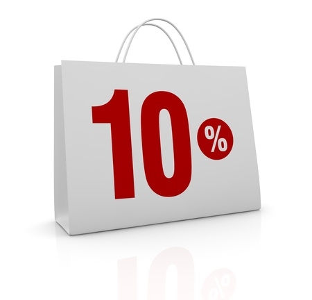 one shopping bag with the number ten and the percent symbol (3d render) photo
