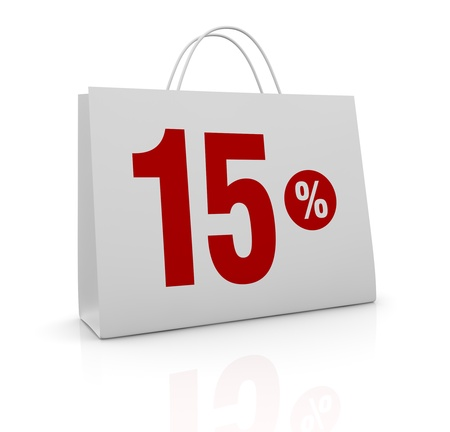 one shopping bag with the number fifteen and the percent symbol (3d render) photo