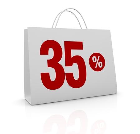thirty five: una borsa della spesa con il numero 35 e il simbolo di percentuale (rendering 3d)