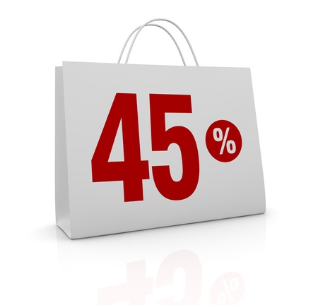 one shopping bag with the number forty five and the percent symbol (3d render) Stock Photo - 16847022