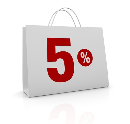 one shopping bag with the number five and the percent symbol (3d render) Stock Photo - 16847015