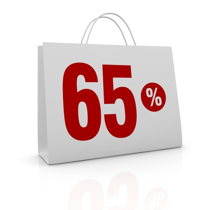 one shopping bag with the number sixty five and the percent symbol (3d render) Stock Photo - 16847027