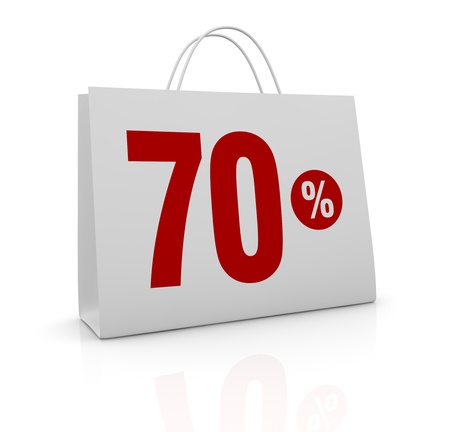 one shopping bag with the number seventy and the percent symbol (3d render) photo
