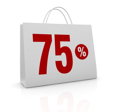 one shopping bag with the number seventy five and the percent symbol (3d render) photo