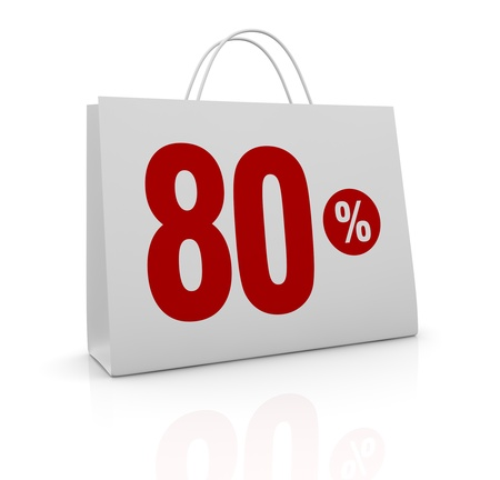 one shopping bag with the number eighty and the percent symbol (3d render) photo