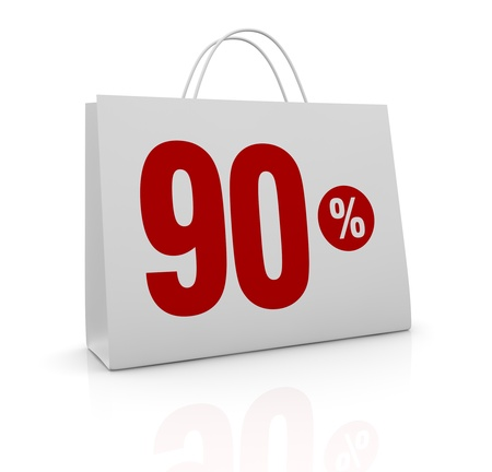 one shopping bag with the number ninety and the percent symbol (3d render) Stock Photo - 16847032