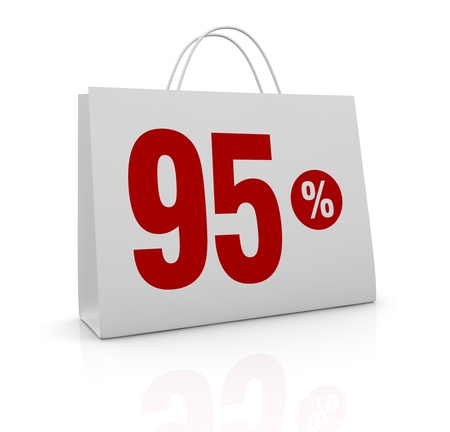 one shopping bag with the number ninety five and the percent symbol (3d render) Stock Photo - 16847030