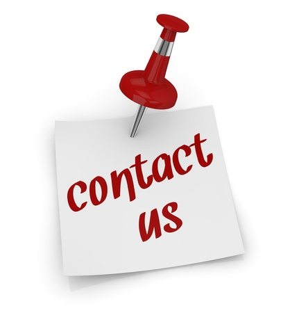 contact us sign: one sticky note with a pin and text: contact us (3d render) Stock Photo