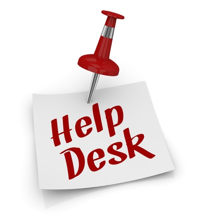 one sticky note with a pin and text: help desk (3d render) Stock Photo - 16842201