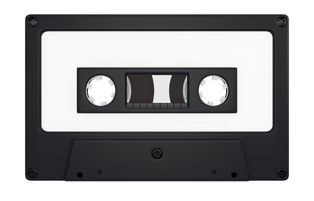 one compact cassette with white label for custom text (3d render) Stock Photo - 17235276