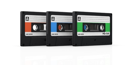 three compact cassettes with labels of different color (3d render) Stock Photo - 17235323