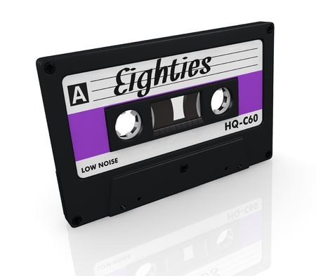 one compact cassette with text: eighties, on the label (3d render) Stock Photo - 17235330