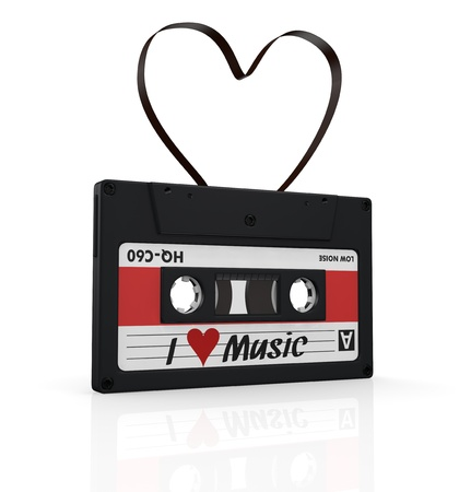 one compact cassette with a heart shape tape, concept of love for music (3d render) photo