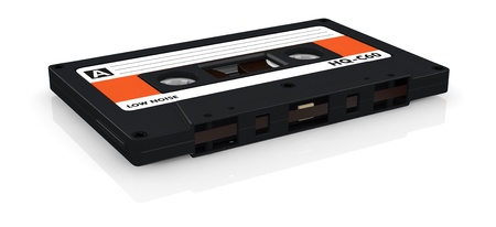 one compact cassette with label (3d render) Stock Photo - 17235314