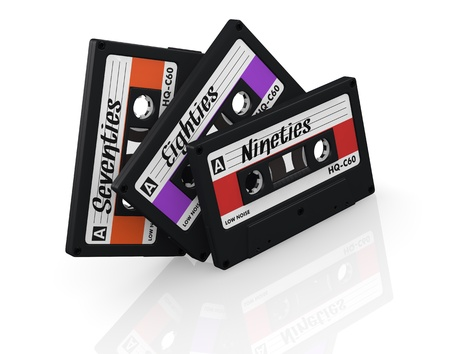eighties: three compact cassettes with label and text: seventies, eighties, nineties (3d render)