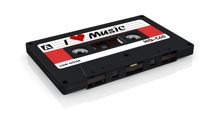 one compact cassette with a heart painted on the label, concept of love for music (3d render) Stock Photo - 17235313