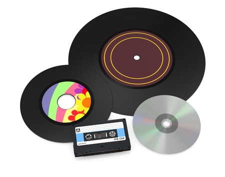 one 12 and a 7 vinyl records, a compact cassette and a cd disc (3d render) photo