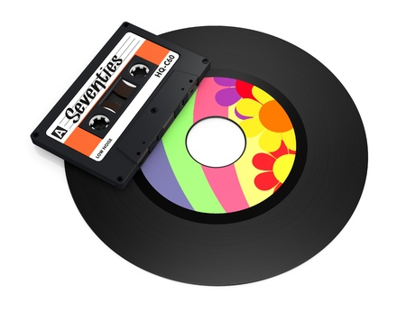 one compact cassette and a vinyl record with text: seventies (3d render) Stock Photo - 17235301