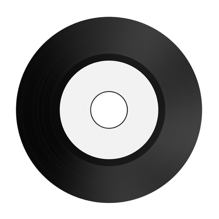 one 7'' vinyl record with a white label for custom text (3d render) Stock Photo - 17235275