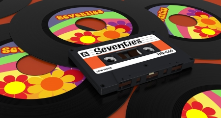 one compact cassette and some vinyl records with text: seventies (3d render) Stock Photo - 17235267