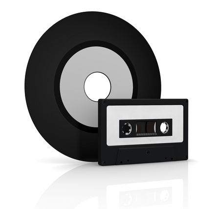 one compact cassette and one vinyl record with white labels for custom text (3d render) Stock Photo - 17235346