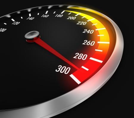 speedometer: tachimetro con ago vicino al massimo (rendering 3d)