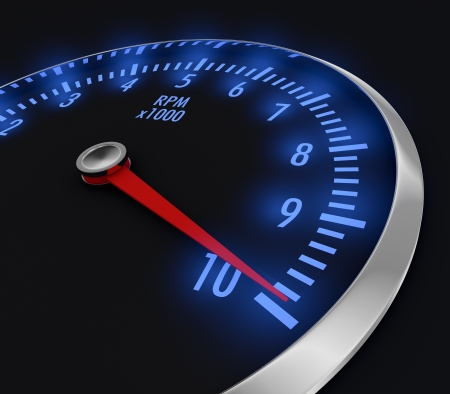 speedometer with rpm, with needle near the max (3d render)