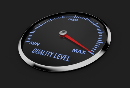 speedometer with quality level, with needle near the max (3d render)