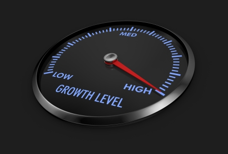 speedometer with growth level, with needle on the high value (3d render) Stock Photo - 17235286