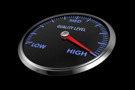 speedometer with quality level, with needle on the high value (3d render) photo