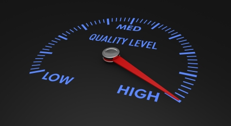 assurance: speedometer with quality level, with needle on the high value (3d render)