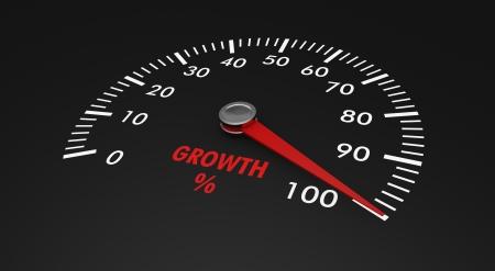 compteur de vitesse: compteur de vitesse avec un niveau de croissance, avec une aiguille sur le 100% (rendu 3D)